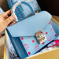 Wearwinds MCM Popular Women Shopping Leather Handbag Tote Shoulder Bag Crossbody Satchel Blue