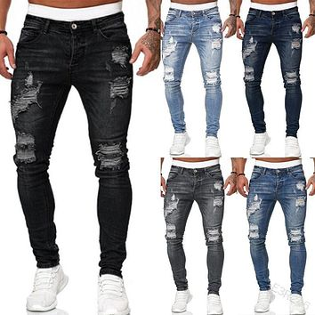 Men's Trousers with Holes Jeans Pants