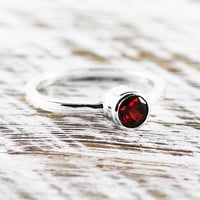 Red Garnet Ring 925 Sterling Silver Engagement Rings Personalized Gemstone