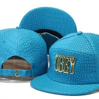 Crocodile Grain hat letters hip-hop hat Obey snapback caps PU leather Casual Outdoor baseball cap