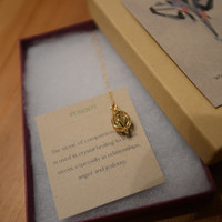 Gold Teardrop Necklace with Green Peridot Stone - SALE 20% Off