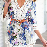 Paisley Print V-Neck Half Sleeve Mini Dress
