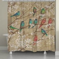 Birds and Blossoms Shower Curtain