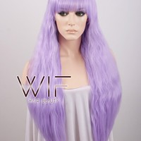 "28"" Wavy Light Purple Synthetic Wig CM159"