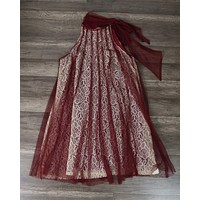Final Sale - Ryu Lace Bound Dress - Merlot
