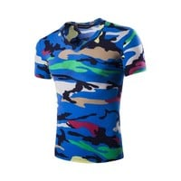 V-neck Short Sleeve Camouflage Summer Men Casual T-shirts [10352114563]