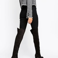 Daisy Street Black Heeled Over The Knee Boots at asos.com