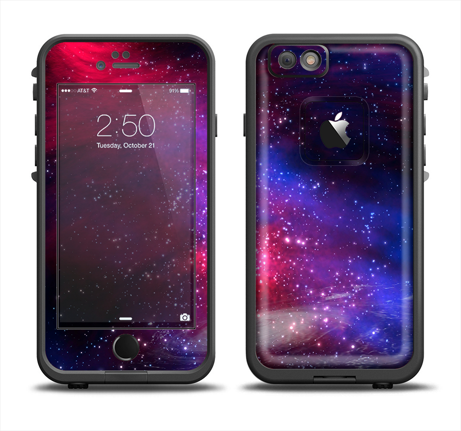 Image of The Vivid Pink Galaxy Lights Apple iPhone 6 LifeProof Fre Case Skin Set