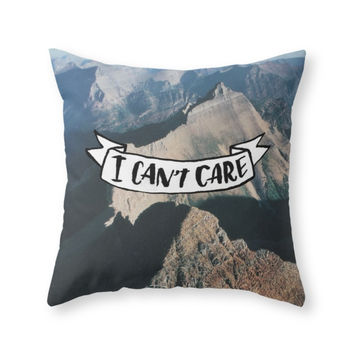 Society6 I Can't Care Throw Pillow