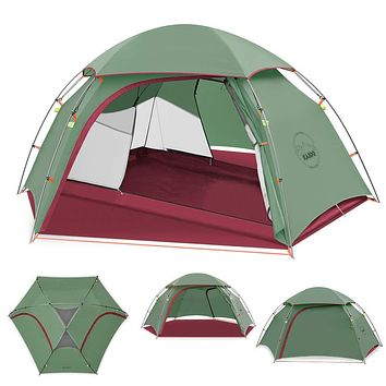 KAZOO Outdoor Camping Tent Durable Lightweight Waterproof Backpack Tents 2 Person Hiking Tent Backpacking Easy Setup, 3 Aluminum Poles Double Layer Green