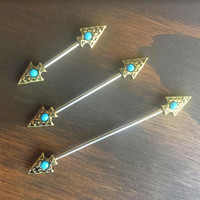 Industrial Barbell Piercing Scaffold Bar Bronze Turquoise Arrow Arrowhead Jewelry Earring Tribal Native American Boho Southwest Southwestern