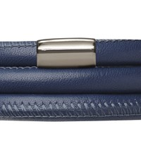 Blue Endless Leather Bracelet with Stainless Steel Magnetic Clasp (Single, Double or Triple Loop)