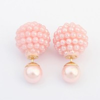 Double Side Pearl Studs