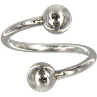 Solid 14kt White Gold Spiral Twister Belly Ring | Body Candy Body Jewelry
