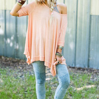 Peach Mineral Washed Slouchy Tee