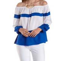 Cobalt Combo Off-the-Shoulder Color Block Top by Charlotte Russe
