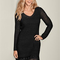 Black Lace Hem Dress from VENUS