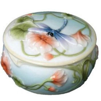 Gifts For Her | Blue Dragonfly and Poppy Trinket Box