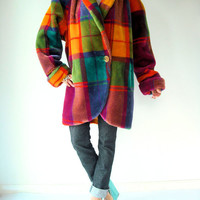 Vintage 80's Avant Garde RAINBOW Plaid Faux Fur Coat / Runway Style