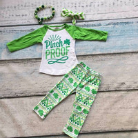 new baby St.Martin's day theme pinch proof outfit girls Spring suit green shirt cotton aztec pants with matching accessories