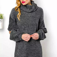 Gray Zipper Sleeve Turtle-Neck Knitted Sweater