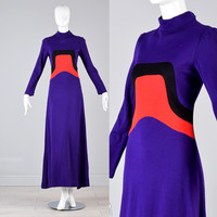 Vintage 60s Iconic MOD Space Age Op Art Long Sleeve Maxi Dress Runway Red Carpet Knit Sweater Purple