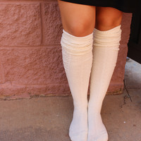 Solid ribbed over the knee socks-more colors