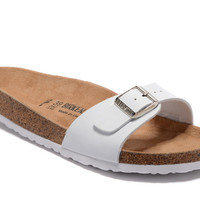 2017 Birkenstock Summer Fashion Leather Cork Flats Beach Lovers Slippers All White Casual Sandals For Women Men Couples Slippers
