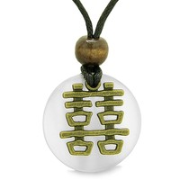 Double Happiness Feng Shui Amulet Fortune Powers White Simulated Cats Eye Coin Medallion Pendant Necklace