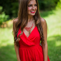 Southern Classic Romper in Red