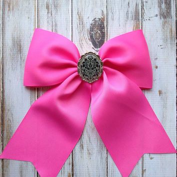 J'adore Lexie Couture Statement Shabby Chic Vintage Pendant Large Pink Bow Shabby Chic Hair Love Barette