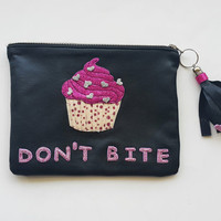 Yummy Cupcake  Leather Pouch.Small Leather Clutch. Leather Bag. Leather Makeup Bag. Leather Cosmetic Bag. Glitter Handbag,FREE SHIPPING