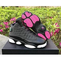 Nike Air Jordan 13 AJ13 Fashion Retro Men Women Sport Basketball Shoes Black&Rose Red