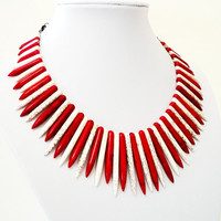 Mothers Day Gift 10% OFF Alternating Red White Spikes Tribal Native Chunky Howlite Necklace/ Bib  Turquoise Necklace