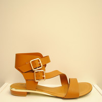 (ams) Gold detail strappy tan sandals