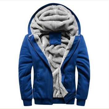 2016 New Brand Thick Wool Warm Winter Coats Men's Hoodies And Sweatshirts Outwear Polo Hooded Sportswear Tracksuits For Mens 5XL