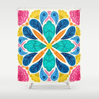 Bright Bohemian Mandala Shower Curtain by noondaydesign