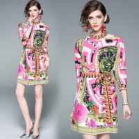 Versace Newest Popular Women Print Medium Sleeve Round Collar Dress