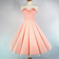 Made To Measure Full Circle Peach Cotton And Lace Prom Dress - Detachable Straps & Belt