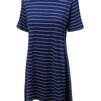 LE3NO Womens Oversized Short Sleeve Striped T Shirt with Side Slits (CLEARANCE)