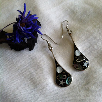 Celestial Galaxy Earrings Vintage Mexican Alpaca Sterling Silver Black Onyx Mother of Pearl  Abalone Inlay Earrings Planets Moon and Stars