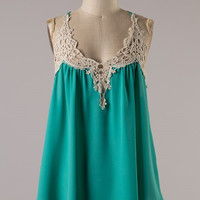Tank Top With Lace Detail - Green