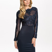 Dark Blue Sheer Floral Lace Long Sleeve Bodycon Dress