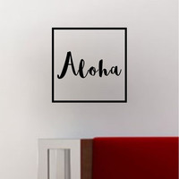 Aloha Square SS Decal Sticker Wall Vinyl Art Wall Room Decor Decoration Tropical Hawaiian Hawaii
