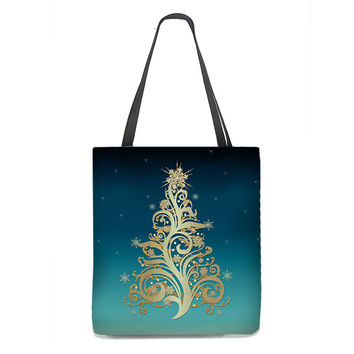 Gold Christmas Tree Tote Bag with Snowflakes