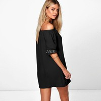 2017  Sexy Women  Off  Shoulder Mini   Casual Loose Half Sleeve Strapless Long Tops Party Dress JUN20_45