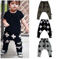 New 2017 Baby Pants Fashion Baby Boys Pants Harem Pants For Girls Cross Star Children Boy Toddler Child Trousers Baby Clothes