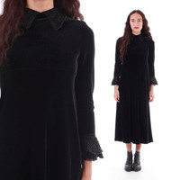 90s Black Velvet Lace Collared Dolly Goth Wednesday Adams Maxi Dress Stretchy Long Sleeved Vintage Clothing Womens Size Small
