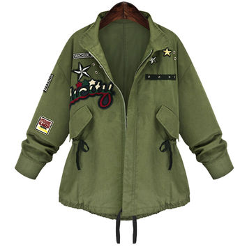 Army Green Embroidred Long-Sleeve Button Shirt With Pocket