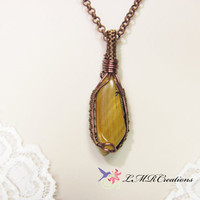 Tiger Eye Necklace, Wire Wrapped Necklace, Antiqued Copper Wire Woven Pendant, Grmstone Stone Jewelry